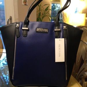 Kenneth Cole reaction black and blue tote bag